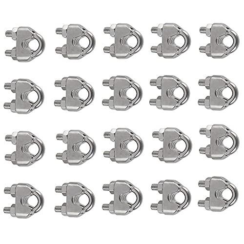 Voarge 20 Pezzi M5 Morsetti per Cavo Morsetti Serracavo Morsetto, per Cavo Metallico Morsetti A Forma Di U, per Il Tensionamento Di Funi Metalliche Per Industria, Famiglia, Spedizione, Ecc.