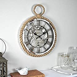 FirsTime & Co. Nautical Gears Wall Clock, 15.75, Galvanized Silver, Distressed White