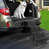 AMZFDC Upgraded Nonslip Car Dog Steps, Portable Metal Fram Large Dog Stairs for High Beds, Trucks, Cars and SUV, Lightweight Folding Pet Ladder Ramp with Wide Steps can Support 130 Lbs