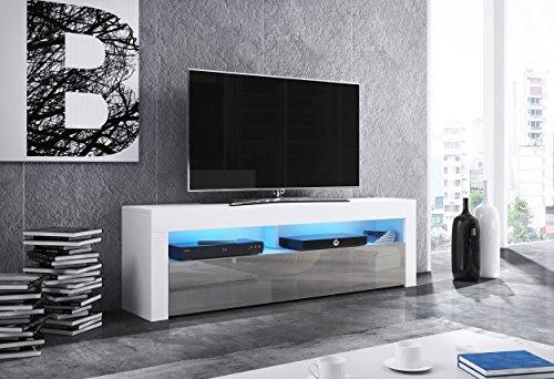 Wohnideebilder Sideboard Lowboard TV Fernsehschrank MAX 160 cm Kommode inkl LED Highboard NEU (Korpus matt weiß/Front grau Hochglanz)