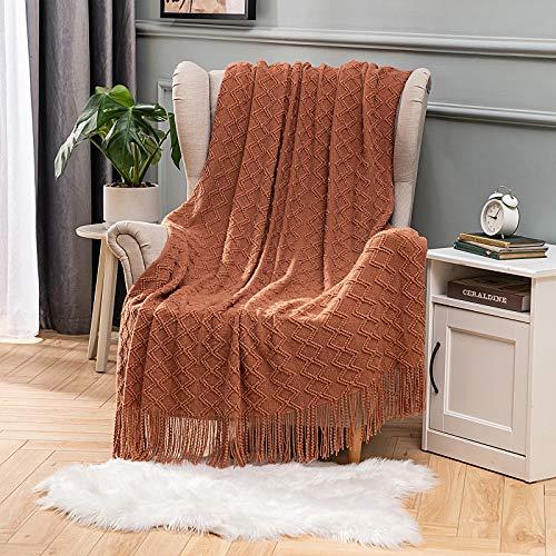 MIULEE Diamentowa narzuta koc miękka dzianina z frędzlami frędzle szalik solidny przytulny przytulny dzianinowy tekstura pled koc na łóżko sofę kanapę 127 * 152 cm pomarańczowy