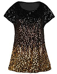 Black/Coffee/Gold Loose Bat Sleeve Party Tunic Tops