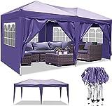 Eloklem Tonnelles Tente 3x3m/3x6m Barnum Tonnelle Pliante Imperméable de Jardin Gazebo Tente de Reception Auvent pour Festival, Plage, Jardins Imperméable Protection UV (3 x 6 m, Violet)