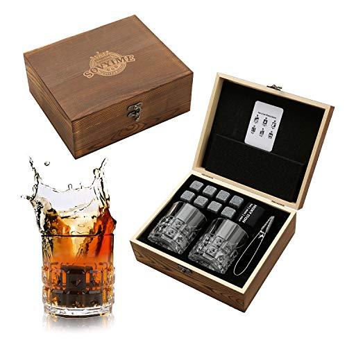 Juego de vasos de whisky Stones para regalo, 8 piedras de granito de whisky, 2 vasos de diamante beber whisky escocés o ginebra, caja de madera regalo para Navidad/cumpleaños/jubilación