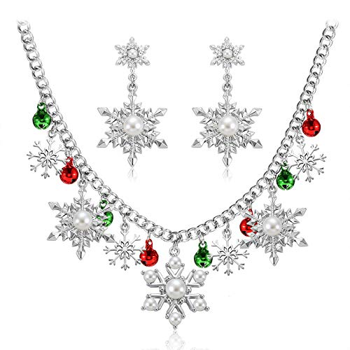 NLCAC Christmas Charm Necklace Pearl Snowflake Charm Collar Necklace with Snowflake Drop Earrings Santa Holiday Novelty Jewelry for Women Girls (Pearl Snowflake)