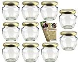 gouveo 40er Set Leere Einmachgläser Henkelglas 106 ml incl. Drehverschluss Gold, Vorratsgläser,...