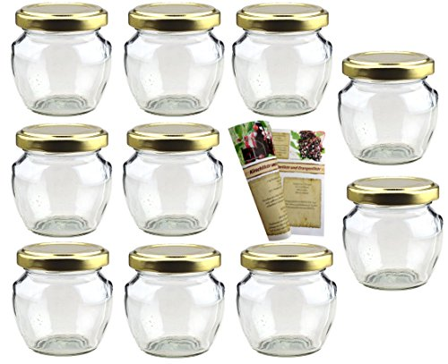 gouveo 40er Set Leere Einmachgläser Henkelglas 106 ml incl. Drehverschluss Gold, Vorratsgläser, Marmeladengläser, Einkochgläser