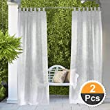 RYB HOME Outdoor Sheer Curtains - Outdoor Deck Linen Look, Semitransparent Sheer, Quick Dry Indoor Outdoor Drapes for Gazebo/Patio/Balcony, Bonus Ropes Included, Wide 54 by Long 84 inch, 2 Panels
