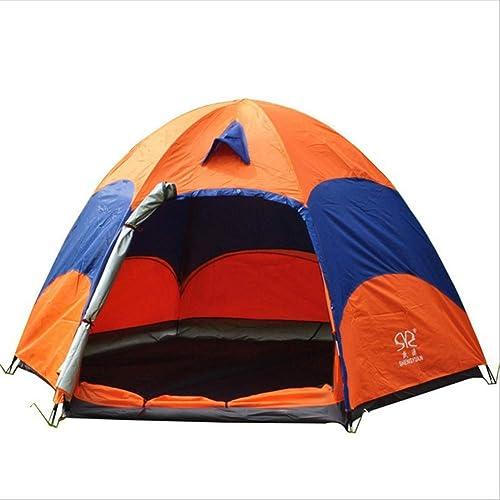Tente 4-5 Personnes Imperméable Et Coupe Randonnée Orange Camping Orange
