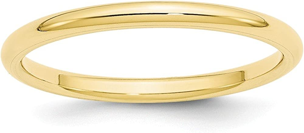 10K Yellow Gold 2mm Standard Comfort Fit Band Ring Size 4 to 14
