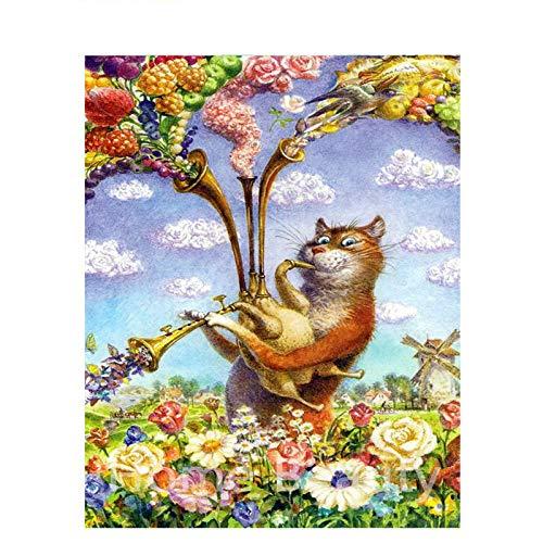 Serthny Schilderen op nummer, doe-het-zelf cat trompet gelakt dieren 40 x 50 cm vulling schilderij voor beginners, schilderen op nummer, set met penseel kleuren en canvas Home Decoratief
