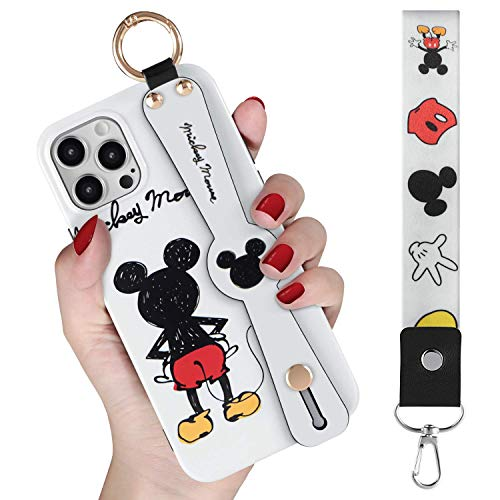 DISNEY COLLECTION iPhone 12 Case - Compatible with 6.1' iPhone 12 Pro - Features Disney's Mickey Mouse -Durable Exterior, Protection Against Scratches and Impacts - Wrist Strap and Lanyard Included