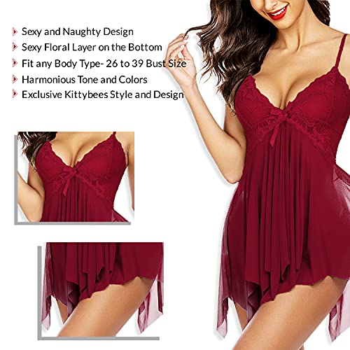 KITTYBEES Women's Net Solid Above knee Baby Doll(L21_Maroon_Free Size)