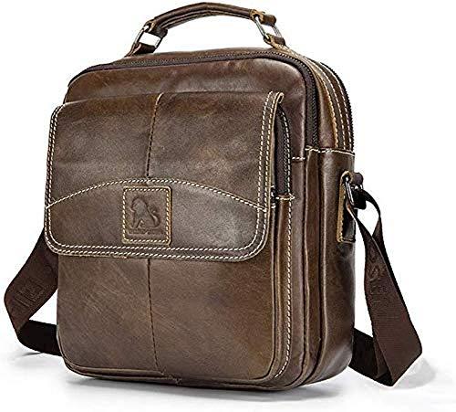 BISON DENIM Herren Leder Schultertasche Reisetasche Kleine Umhängetasche Handtaschen (Bruab-W2952)