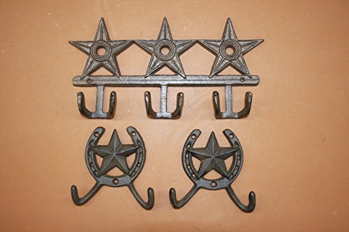 Texas Bath Decor Lone Star Towel Hooks Horseshoe Wall Hooks Solid Cast Iron, 12 inch Wide, W-72, Bundle 3 Items
