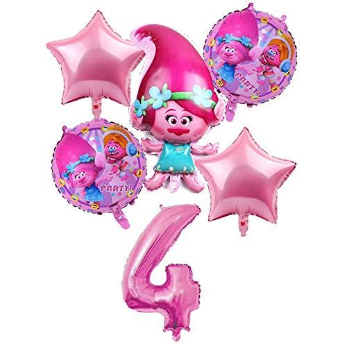 BAYUE Globos 6 unids / Lote Trolls Globos Baby Happy Brithday Helium Foil Air Balloon Suministros de Boda Decoración Fiesta de cumpleaños Regalo for niños ( Color : Pink 4 )