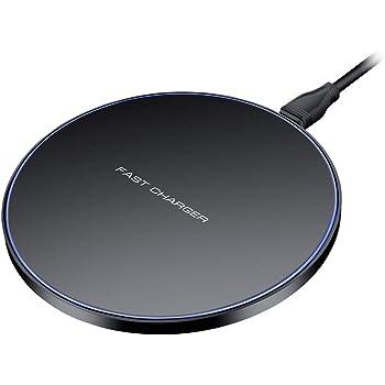 Limxems Chargeur sans Fil 10 W Universel Qi Charging Pad, Chargeur à Induction Compatible avec iPhone 11/11 Pro/XS/XS Max/XR/X /8/8 Plus, Samsung Galaxy S10 /S9 /S9 + /S8 /S8 + /S6 –Noir