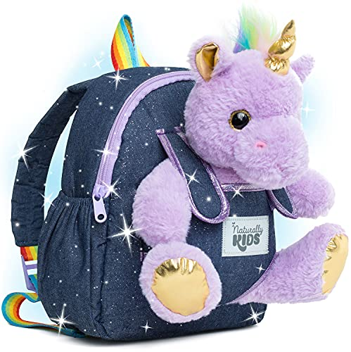 Naturally KIDS Small Unicorn Backpack - 3 - 4 Year Old Girl Gifts - Toddler Backpack for Girl Boy w Stuffed Animal - Toys for 3 Year Old Girls - w Pockets & Reflective Logo - Backpack w Purple Unicorn