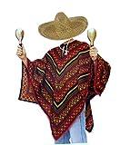 tnt-shop-de Mexiko Poncho Mexikaner Kostüm mit Sombrero Natur mit Kordel im Set - ideales...