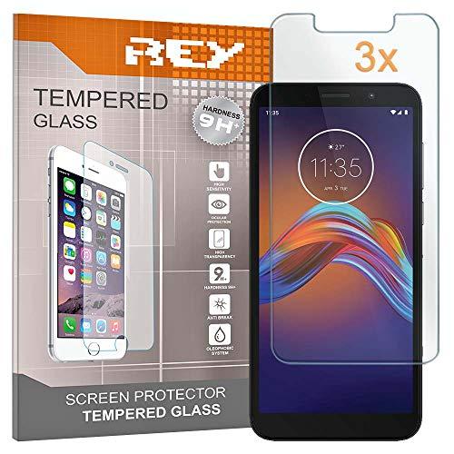 REY 3X Protector de Pantalla para Motorola Moto E6 Play, Cristal Vidrio...