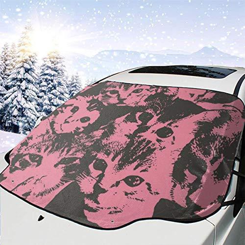 LILILOVE-SHOP Sunshade Outdoor Windshield Frost Tarp, Funny Car Window Sun Shade Wiper Protector, Cute Kitten Cat Pink Camo Pattern Frostguard Lightweight Sun Visor Fits Most of Various Sizes