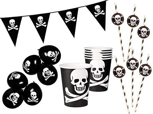 Set pour fête pirate (Alsino Set-1) lot de 19 accessoires: Guirlande , gobelets , pailles , ballon de baudruche Pour agrémenter les fêtes d'anniversaire enfant garçon fille sur le thème des pirates