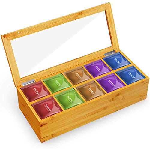 Bamboo Tea Box Wooden Storage Organizer with 10 Adjustable Chest Compartments and Clear Lid Window for Tea Bags, Packets, Coffee, Sugar, Small Items and Accessories by Pipishell