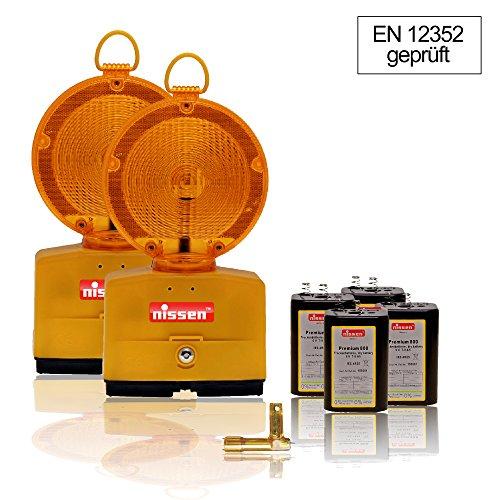 2er SparSet NISSEN™ Nitra LED inkl. Batterien & Schlüssel - Baustellenleuchte - Bakenleuchte - Blitzleuchte - Warnleuchte - gelb