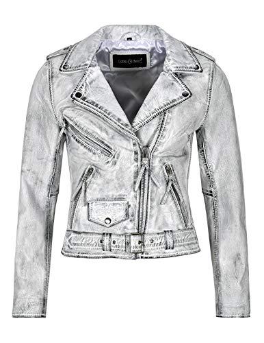 Chaqueta de Cuero gótica para Mujer Biker Fashion White Vintage Waxed Distressed Jacket