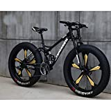 Hs toyT 26 Inch Mountain Bike, Full Suspension Folding Sports Bike, Variable Speed Adult Foldable Bicycle MTB, Dual Disc Brakes for Men & Women (Black & Gold)