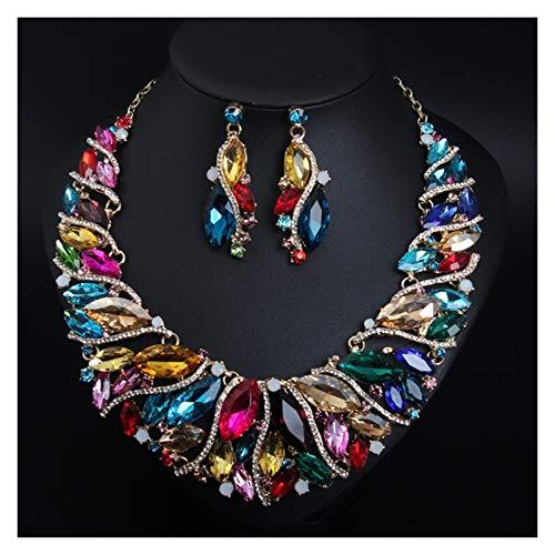 LPZW Europa y los Estados Unidos exagerar el Collar de Cristal Anillo de Orejas Conjunto de Joyas de Novia Banquete joyería Accesorios Femeninos (Color : Colorful)