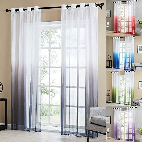 Topfinel Farbverlauf Vorhänge mit Ösen Transparente Gardinen Tüll und Voil Dekoschal für Fenster Schlafzimmer und Wohnzimmer 2er Set je 225x140cm (HxB) Grau
