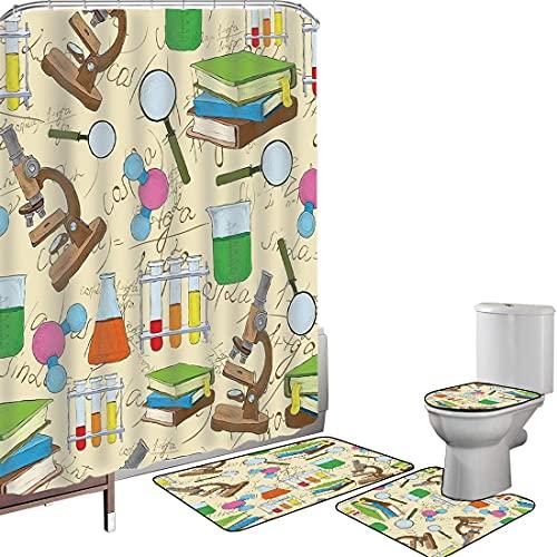 Juego de cortinas baño Accesorios baño alfombras Decoración infantil Alfombrilla baño Alfombra contorno Cubierta del inodoro Laboratorio de educación científica Cuaderno de dibujo Ecuación Lupa Micros