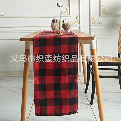 Li KererChristmas Polyester Cotton Plaid Table Flag Home Hotel Restaurante Decoracion Mesa de Comedor Mantel Nordic Cross-Border Color Mantel, Red Enrejado Negro, 33 * 275cm