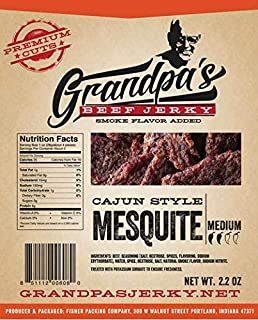 Gluten-Free Low Carb Beef Jerky Snacks: 3 Pack of Cajun Style Mesquite Meat Strips for Paleo & Keto Diets -- Grandpa's Beef Jerky