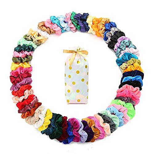 60 Pcs Scrunchies Soft Velvet Scrunchies and Satin Hair Scrunchies for Girls Silk Elastic Hair Ties Scrunchies for Women Hair Accessories with Gift Bag