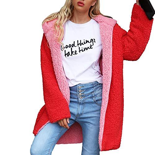PPangUDing Plüschjacke Doppelseitig Winterjacke Damen Mode Einfarbig Fleece Gefüttert Langarmshirt Cardigan Outwear Herbst Winter Warm Outdoor Winddichte Casual Wild Kapuzenpullover Parka