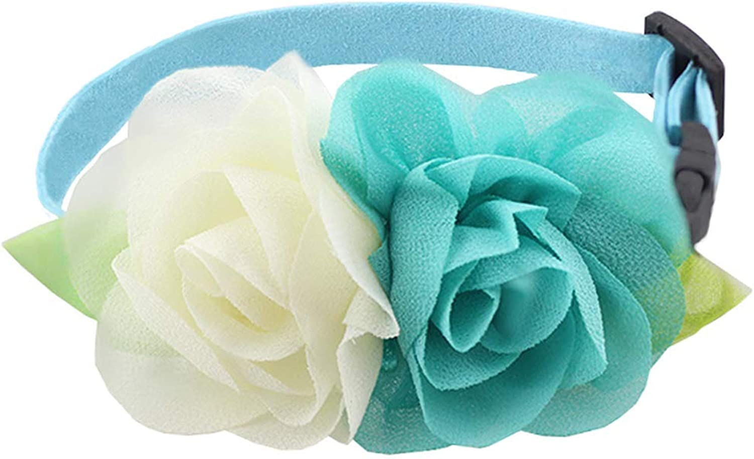 ANIAC Pet Charm Flowers Collar Adjustable Floral Neck Accessories Soft Outfit Cats Puppy Small Dogs (XSmall, bluee)