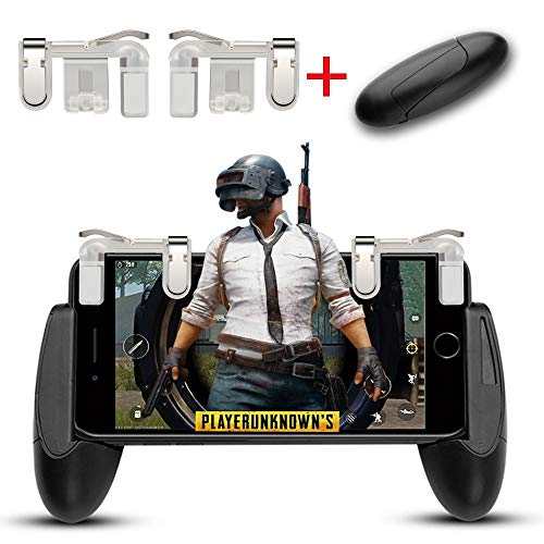 Mobile Game Controller, Aimus Sensitive Aim Triggers and Game Grip Joystick Compatible with PUBG/Fortnite/Knives Out/Rules of Survival, Gamepad for iPhone, Samsung and Android Smart Phones (Clear)
