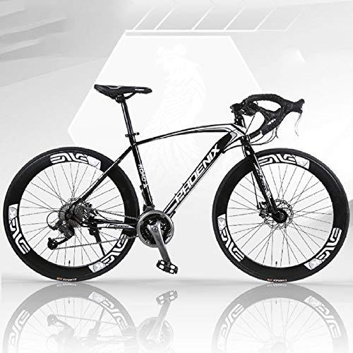 Biciclette da strada per adulti 700C, doppio disco freni per uomo e donne, biciclette da strada con manubrio curvo, telaio in acciaio al carbonio alto, bici della città, 27 velocità-Bianco e nero 1