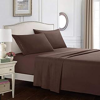 CTOBB Drap de lit avec taie d'oreiller 4pcs Couvre-Matelas Ensembles de draps-Housse avec élastique pour Les Ensembles de ...