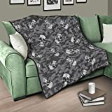Flowerhome Totenkopf Camouflage Steppdecke Tagesdecke Bettdecke Bettüberwurf Sofadecke Couchdecke Schlafdecke TV für Sofa Couch Bett White 180x200cm