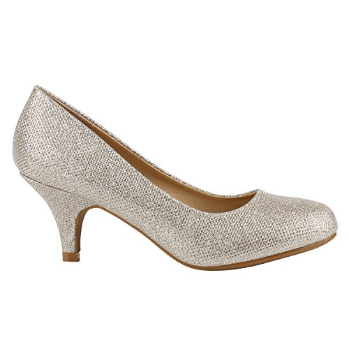 Damen Stiletto Pumps High Heels Glitzer Party Schuhe 142176 Gold Creme Glitzer 36 Flandell