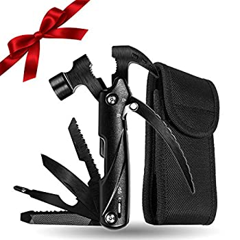 Small Hammer Multitool 12 in 1 Mini Safety Hammer Survival Tool Cool Gadget for Outdoor Camping Hiking Household,Gift Ideas for Men Dad/Father/Boyfriend/Husband/DIY Handyman
