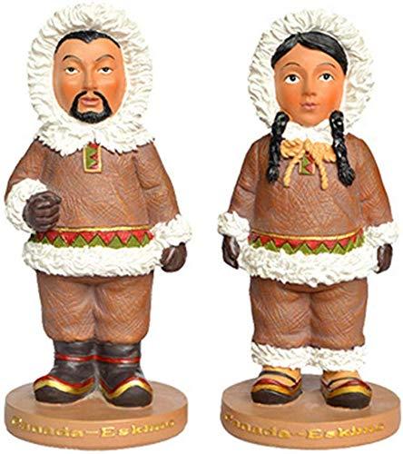 Beeld Sculptuur/Huis Decoraties, Handgeschilderde Figurijn, Eskimo Nationaal Kostuum, Sculptuur Paar, Mini Desktop Craft, Verzamelbaar (6.8X6.8X15Cm)