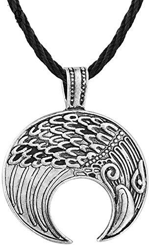 CCXXYANG Co.,ltd Collar Collar con Colgante De Nostalgia Amuleto Nórdico Símbolo De Media Luna Animal Personalidad Hombres Joyería Mujeres