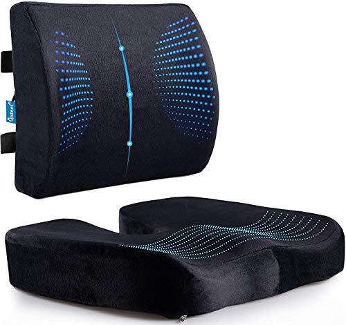 QUTOOL Sitzkissen und Lendenwirbelstütze Rückenkissen rutschfest Orthopädisch Memory Foam mit Verstellbarem Gurt für Ischias (Gel Memory Foam)