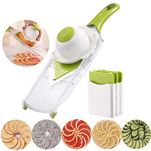 ZXYWW 4 in 1 Vegetable Chopper Dicer Slicer Cutter, V Slicer Mandoline Slicer with 5 Replaceable Blades, Best Kitchen Tools for Lemon Potato Onion Chips