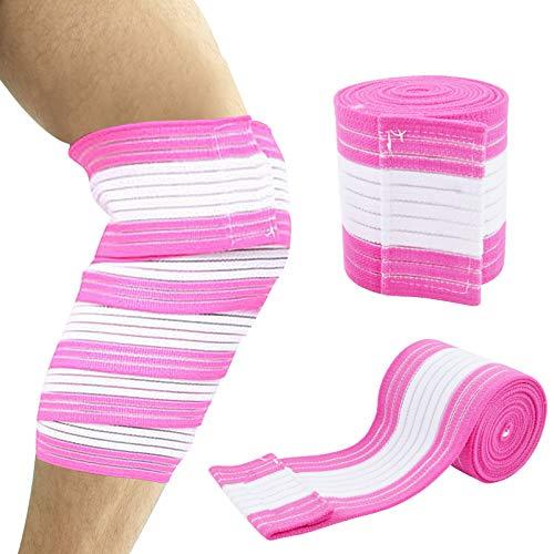 2 PCS Plus Size Knee Brace for Women Men, Elastic Extra Large Knee Brace Plus Size Knee Brace Wraps for Weightlifting, Patellar Tendon, Support Strap for Running, Basketball, Wrestling, Sports (Pink)