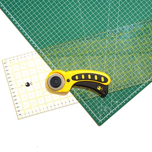 OfficeTree® Set Schneidematte A1 90x60 cm + Rollschneider + Lineal 60x16 cm - selbstheilende Schneideunterlage - für professionelle Schnittarbeiten (Grün)